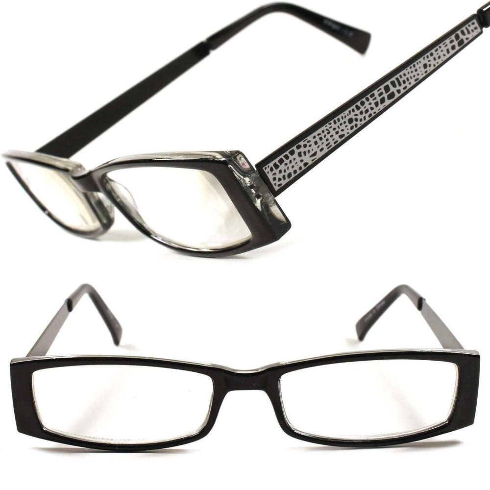 Mens Black Frame Reading Glasses : Designer Fashion Cool Rectangle Mens Womens Black Frame 3 ...