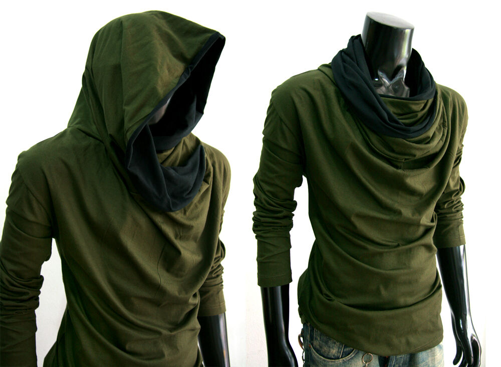 New men green cloak long sleeve turtle cowl neck hoodie for Turtle shirts for men