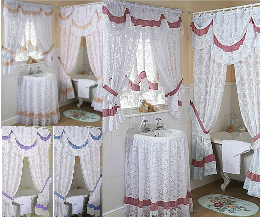 Chantilly Lace Bathroom Window Curtains, Mock Austrian - LAST FEW PEACH OR LILAC