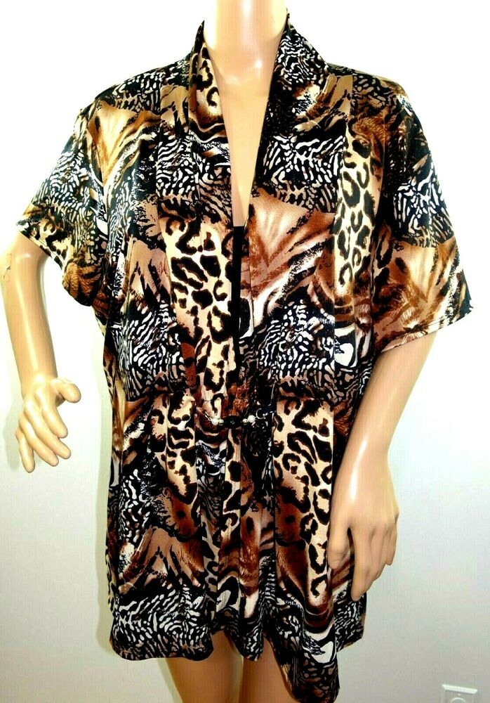 236c080511f3c Details about NOTATIONS WOMEN PLUS SIZE 3X ELEGANT BLACK BROWN BLOUSE CAMI  ANIMAL PRINT TOP