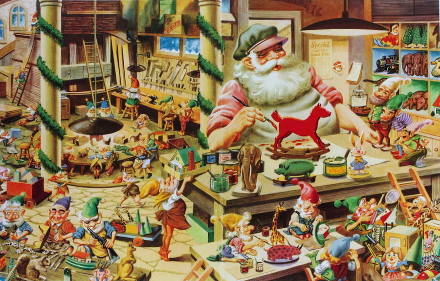 Vintage santa s christmas toy factory with elves working ebay