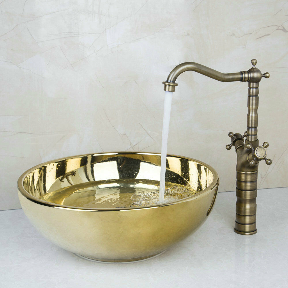 ... Gold Finished Vessel Sink With Basin Antique Brass Rain Fauct eBay