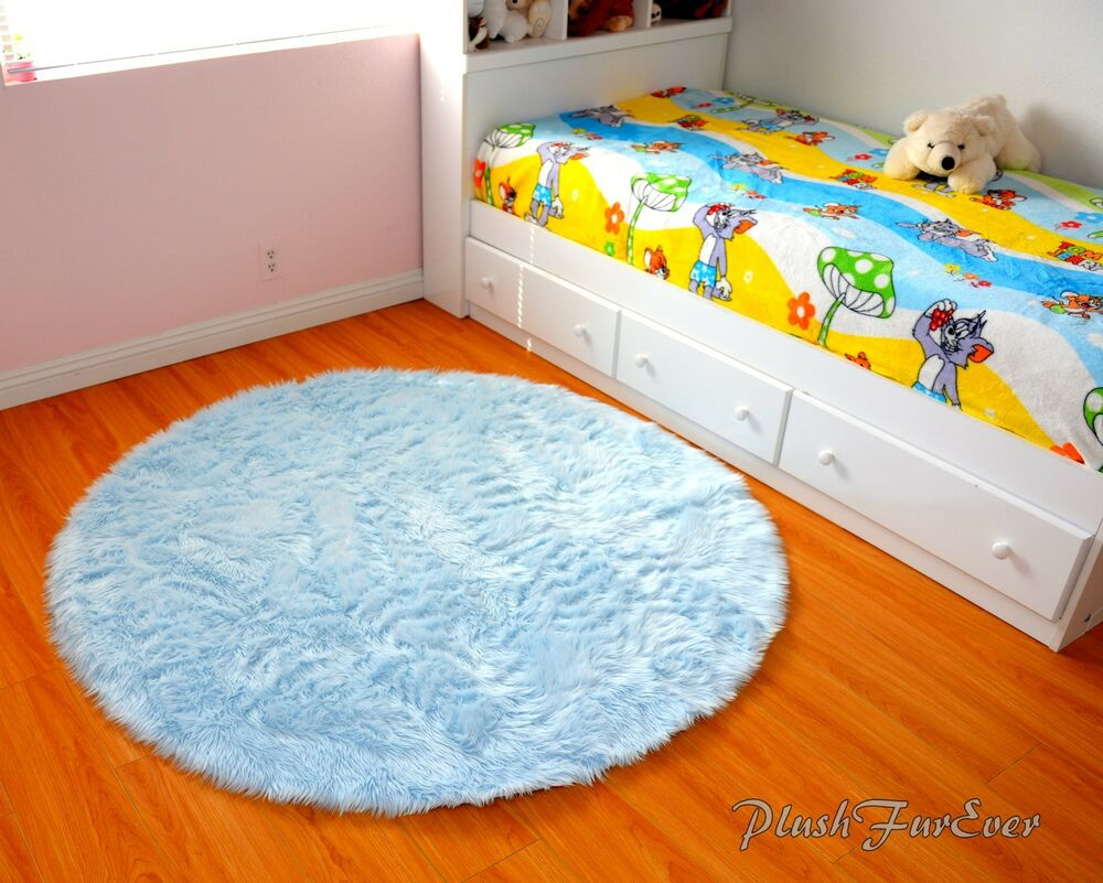 Baby Blue Area Rug 5 Faux Fur Shaggy Throw Rugs Cute Baby