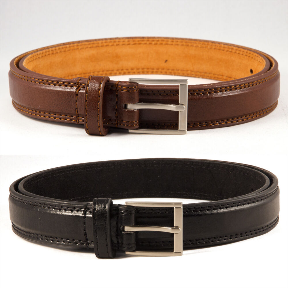 Leather. Leather belts are timeless, reliable choices that work with everything from casual jeans to professional suits. Some men's belts feature a single piece of stitched leather.