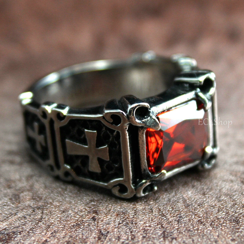 Men 39 s vintage crusader templar cross christian ruby cz for Do pawn shops buy stainless steel jewelry