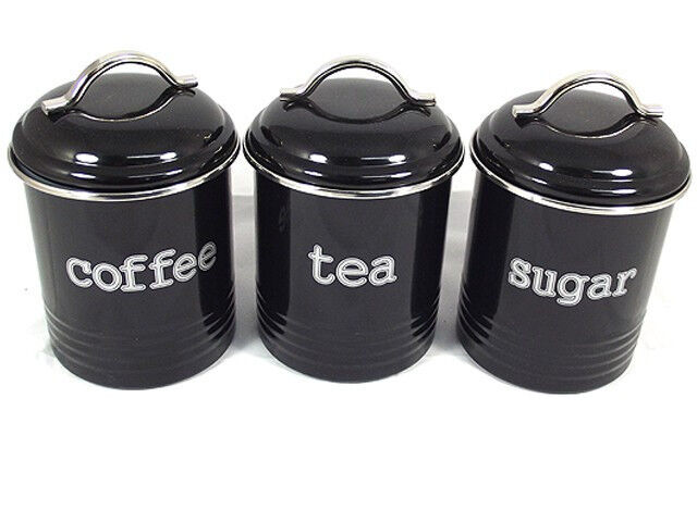 Black Set Of 3 Tea Coffee And Sugar Canisters New Modern
