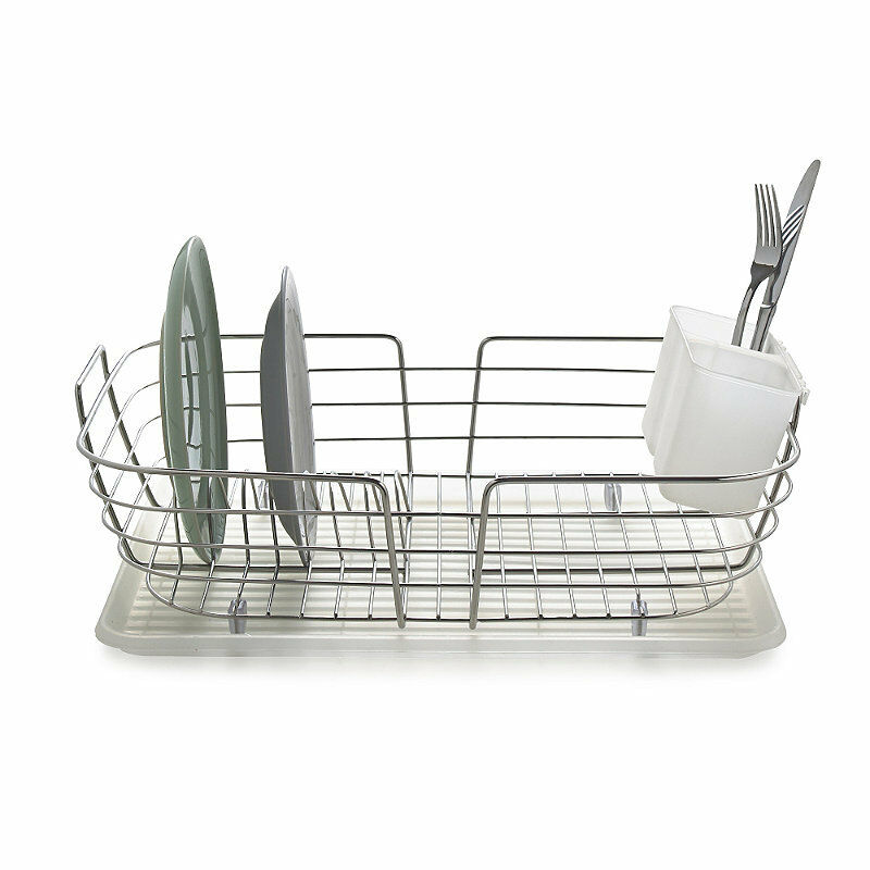 lakeland compact curved edge 8 plate dish drainer stainless steel ebay. Black Bedroom Furniture Sets. Home Design Ideas