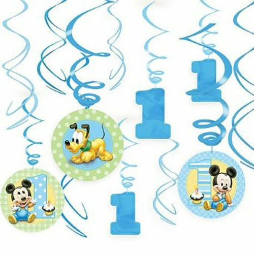 Baby mickey 1st birthday hanging swirls first baby boy decorations party supply ebay - Ideeen deco kamer baby boy ...