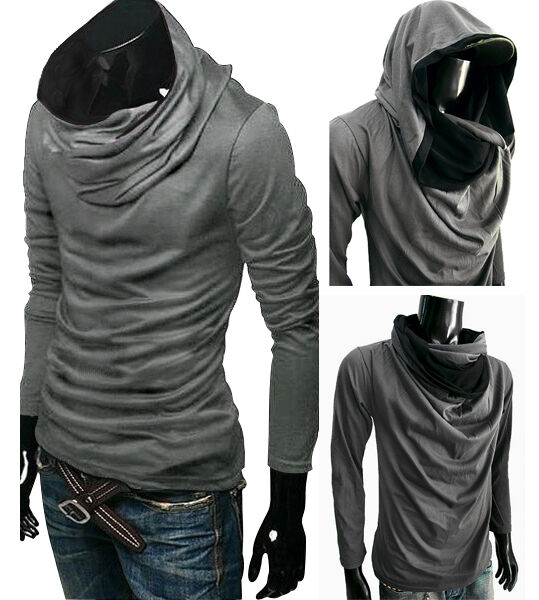 New men gray longsleeve turtle cowl neck hoodie scraf for Boys long sleeve shirt with hood