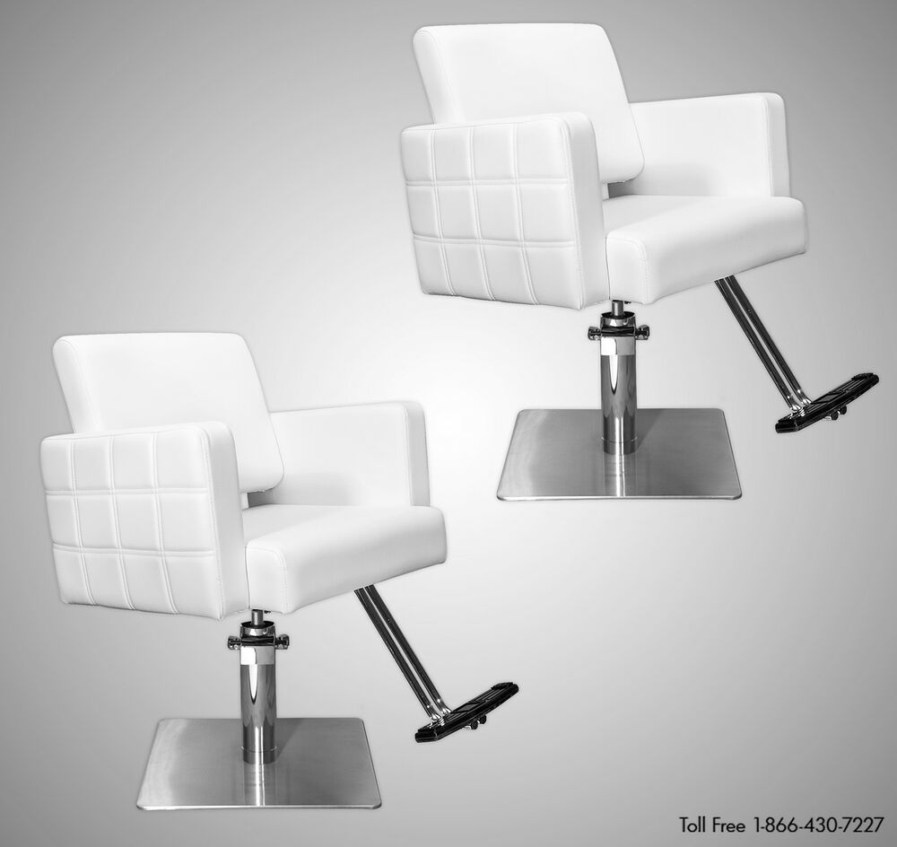 Two 2 stylist quilted styling chairs white t footrest for White salon furniture