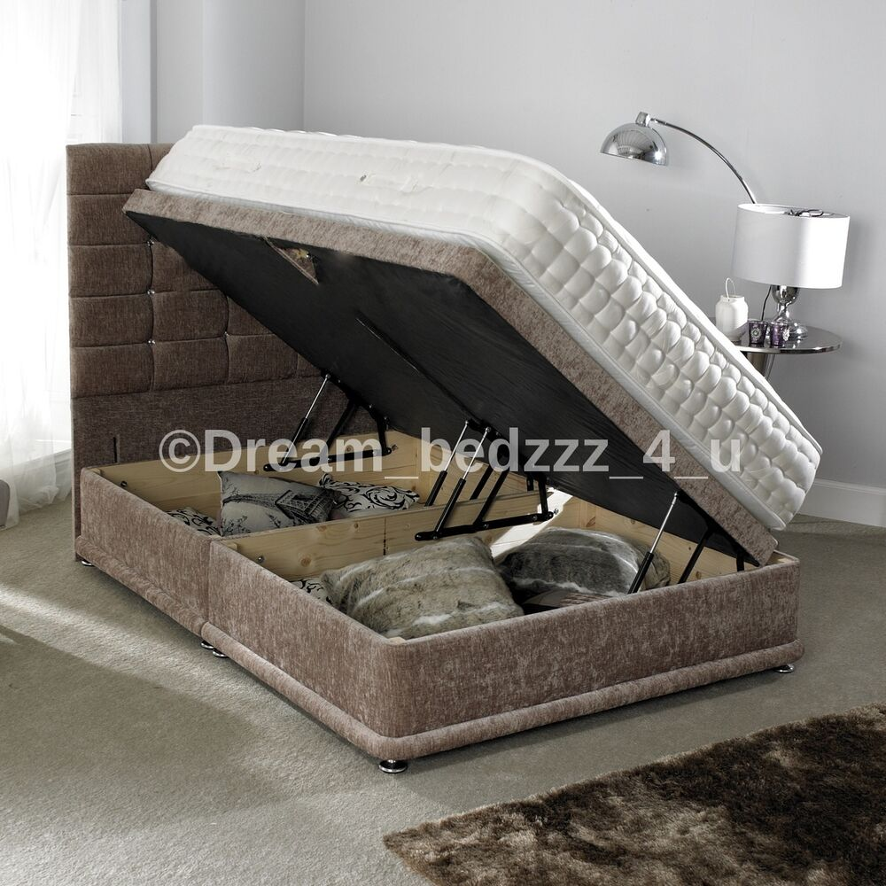Storage Ottoman Divan Chenille Bed Floor Headboard Double 4 39 6 5ft King Size Ebay