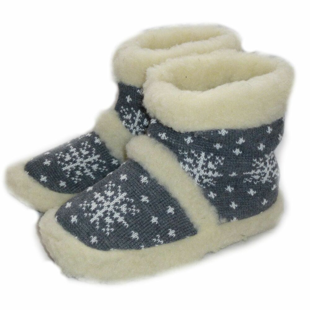 Women`s Ladies Mens Winter Slippers Pure Sheep Wool Slipper Boots Cosy Foot | EBay