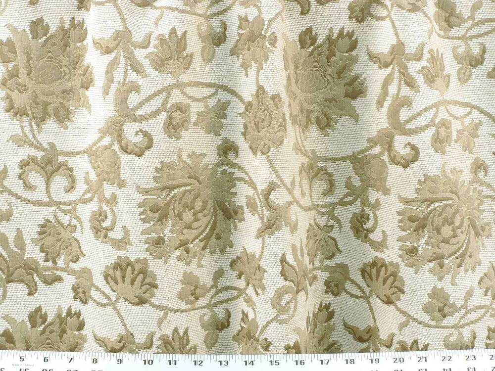 Drapery upholstery fabric floral jacquard on textured for Floral upholstery fabric