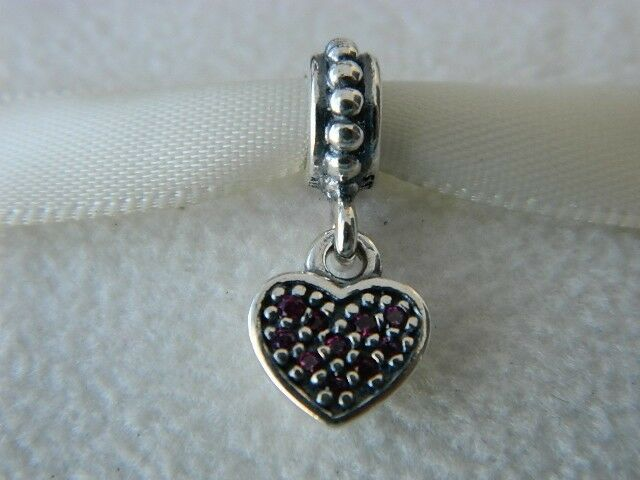 New  Authentic Pandora Charm Ruby Red Pave Heart Dangle