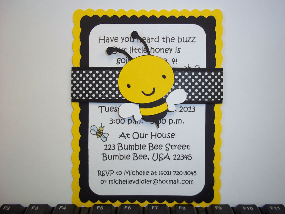 Bumble bee invitations bee invitation bee baby ebay for Spelling bee invitation template
