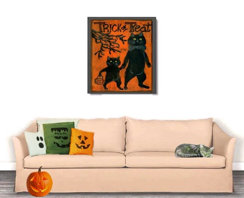 trick or treat primitive vintage look black cats halloween. Black Bedroom Furniture Sets. Home Design Ideas