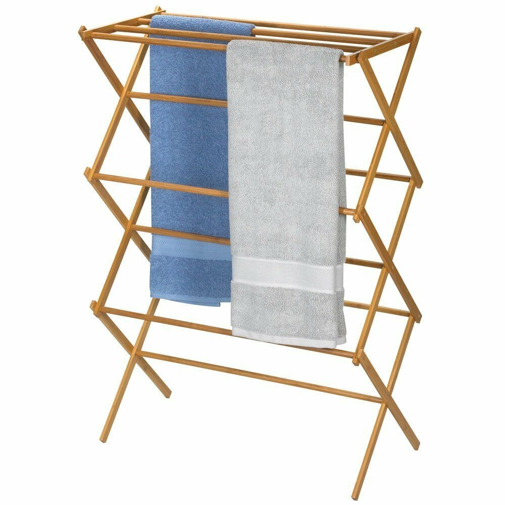 household essentials folding clothes drying rack bamboo new free shipping ebay. Black Bedroom Furniture Sets. Home Design Ideas