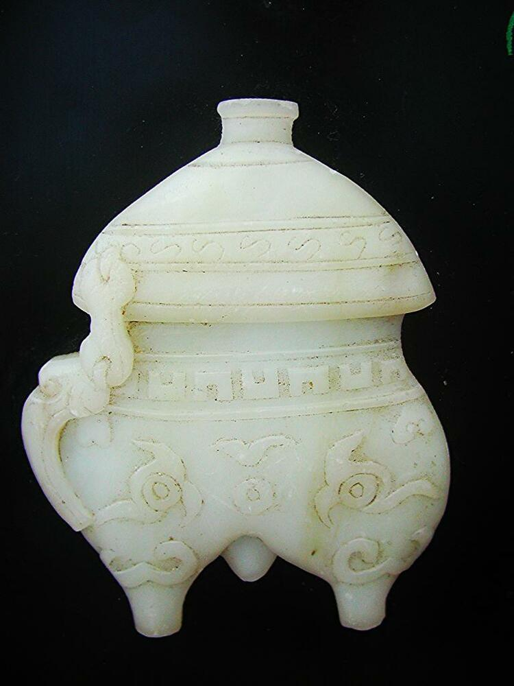 Antique Chinese Carved White Jade Jinger Pot Wall Decor Ebay
