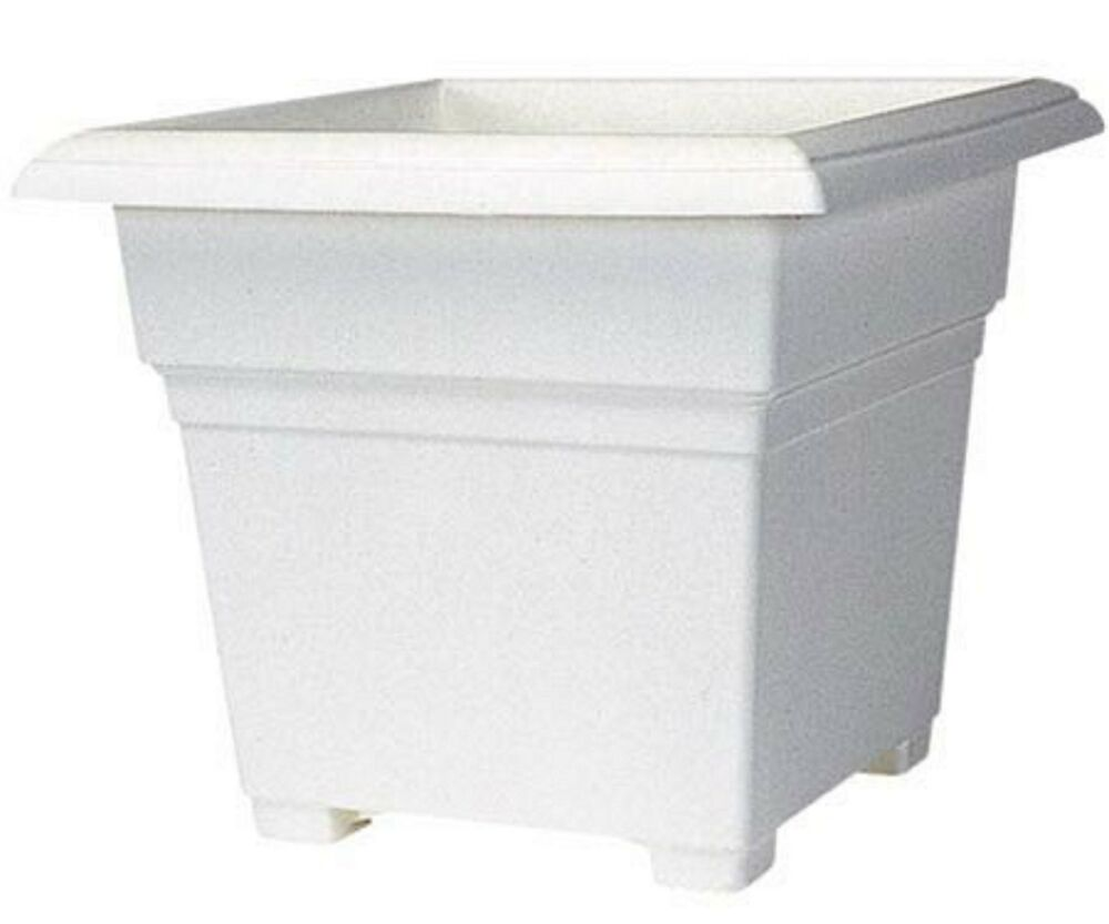 Square Tub Square Tub Planter White Flower Pot 14 Inch Garden Gardening