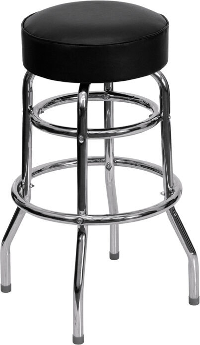 Commercial Quality Double Ring Chrome Bar Stool W Black