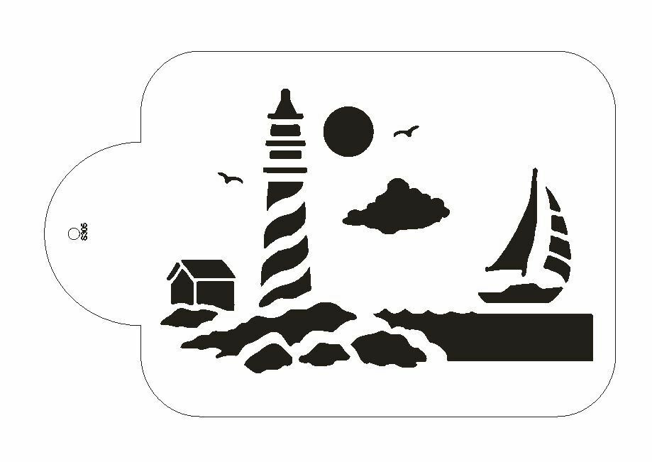 Cake Stencil Designs Free : Lighthouse Ocean View Stencil For The Designer Stencil for ...