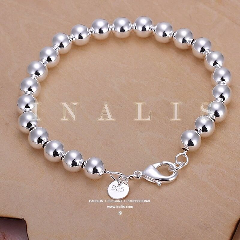 New Women Jewelry 925 Sterling Silver Plated Beads String