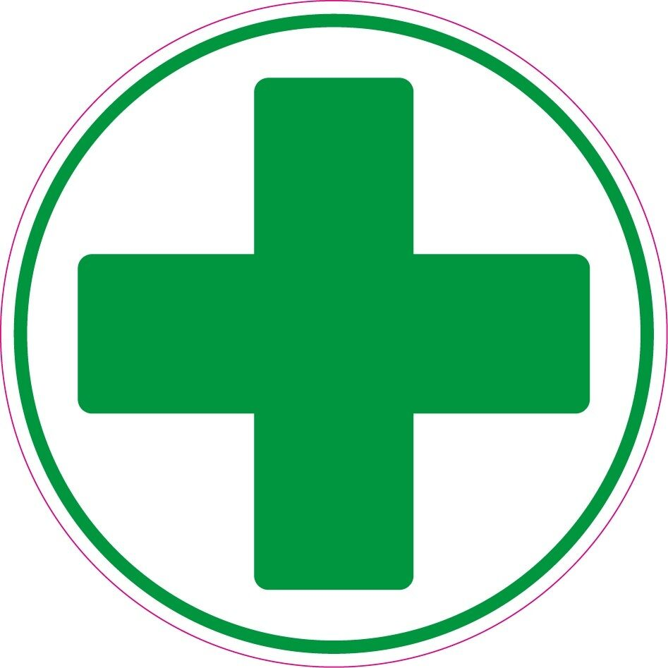 First Aid Cross Circle Health And Safety Signs Sticker Green Cross