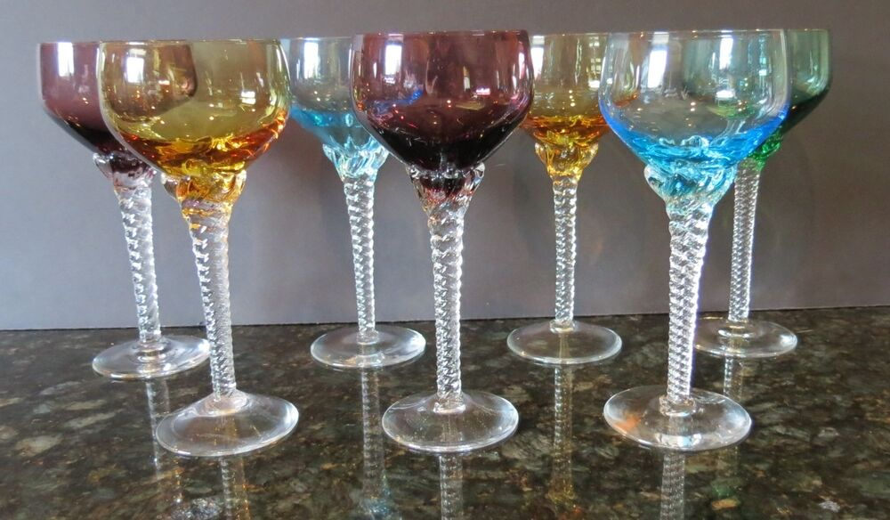 Lot of 7 Multi Colored Crystal Cordial/Apertif Goblets ...