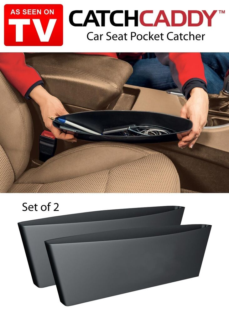 2 sleeves of catch caddy car seat pocket catcher organizer store as seen on tv ebay. Black Bedroom Furniture Sets. Home Design Ideas