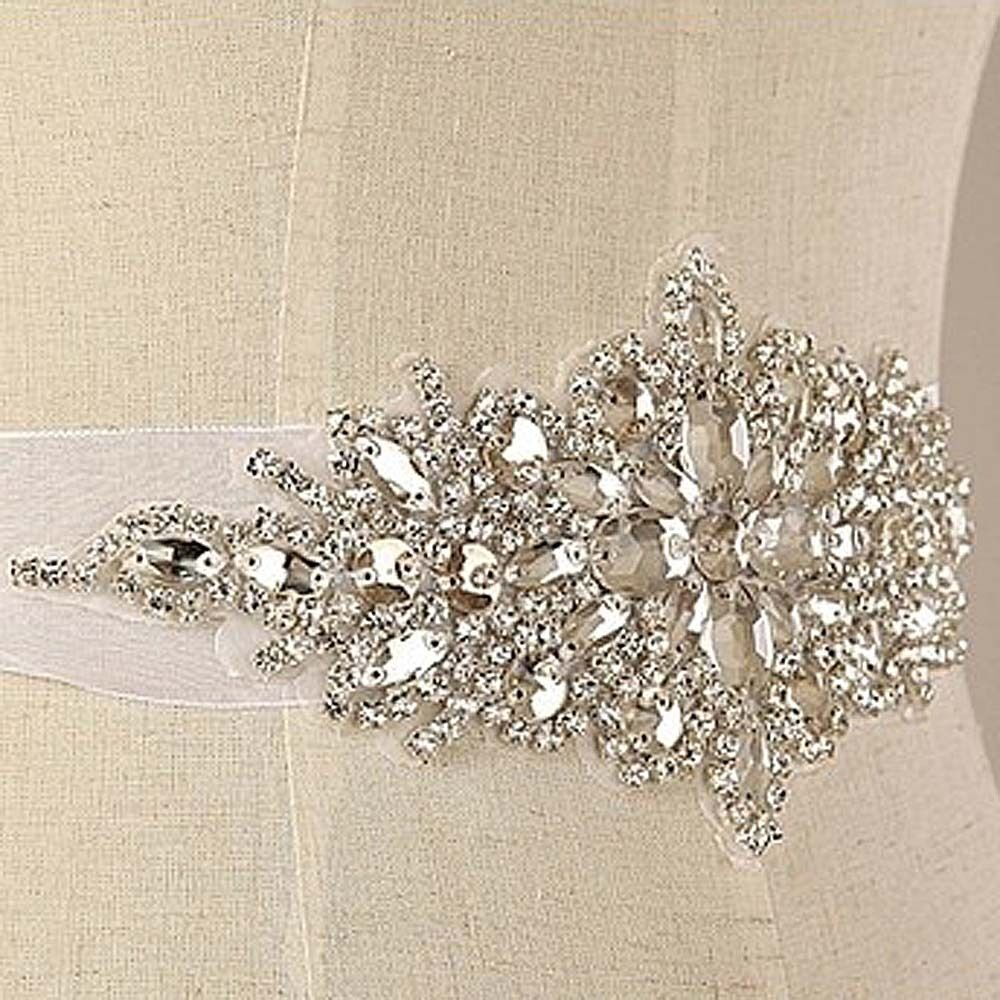 Crystal bridal sash rhinestone waist sash wedding applique for Rhinestone sash for wedding dress