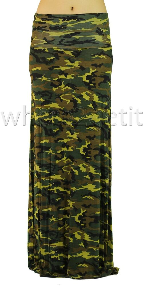 new camouflage army green print foldover maxi