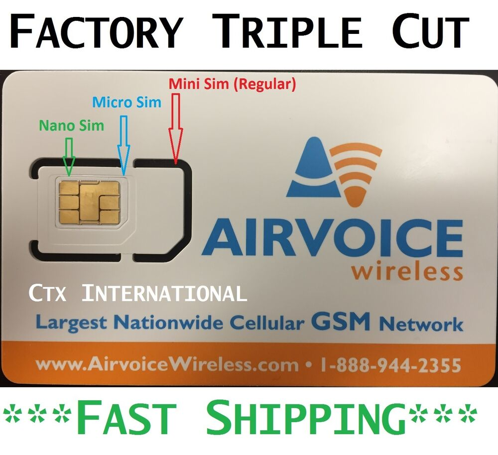 Airvoice Wireless (Nano) SIM Card New, NEVER ACTIVATED. AT
