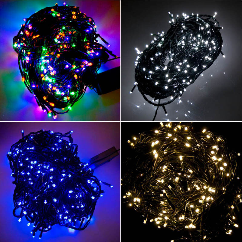 300 LED Green Cable Christmas Tree Fairy Lights String 8 Chasing Static Settings eBay