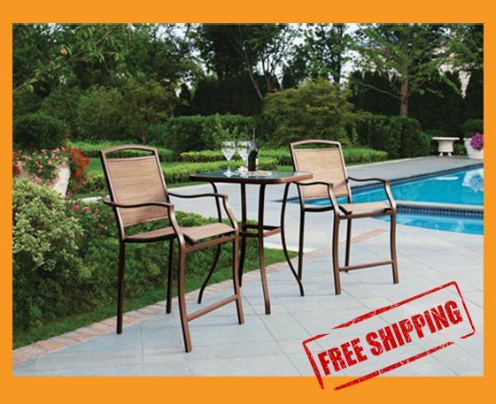 Bar height bistro set 3pc table chair patio furniture outdoor backyard pool deck ebay - Essentials for setting up a backyard bar ...