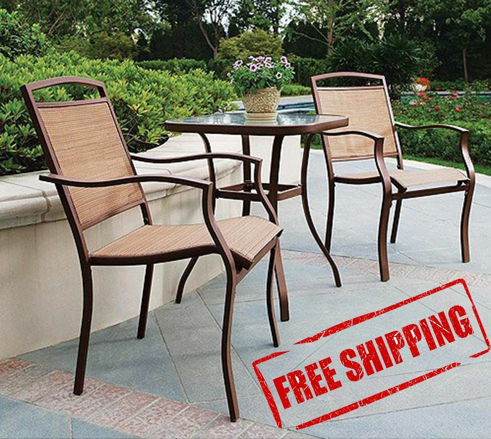 Bar bistro set 3pc table chair patio furniture outdoor for Outdoor pool furniture