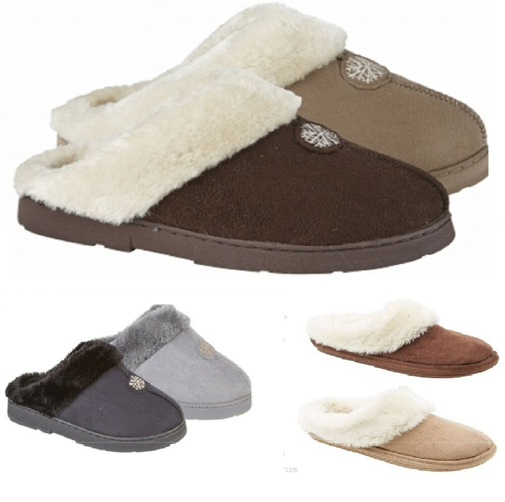Ladies Slippers Fur Linned Warm Mules House Shoes Girls Booties Size 3 4 5 6 7 | EBay