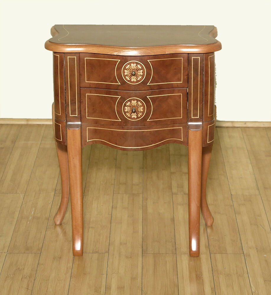 Vintage small inlaid 2 drawer nightstand bedside table f for French nightstand bedside table