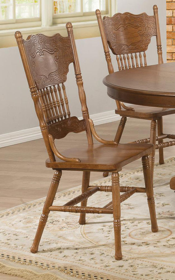 Pressed Back Dining Chairs ~ Pair of brooks country oak traditional press back dining