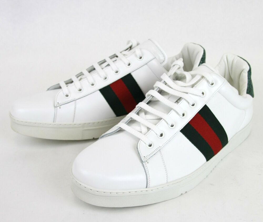new authentic gucci mens leather sneaker w crocodile trim web detail 125375 9162 ebay. Black Bedroom Furniture Sets. Home Design Ideas