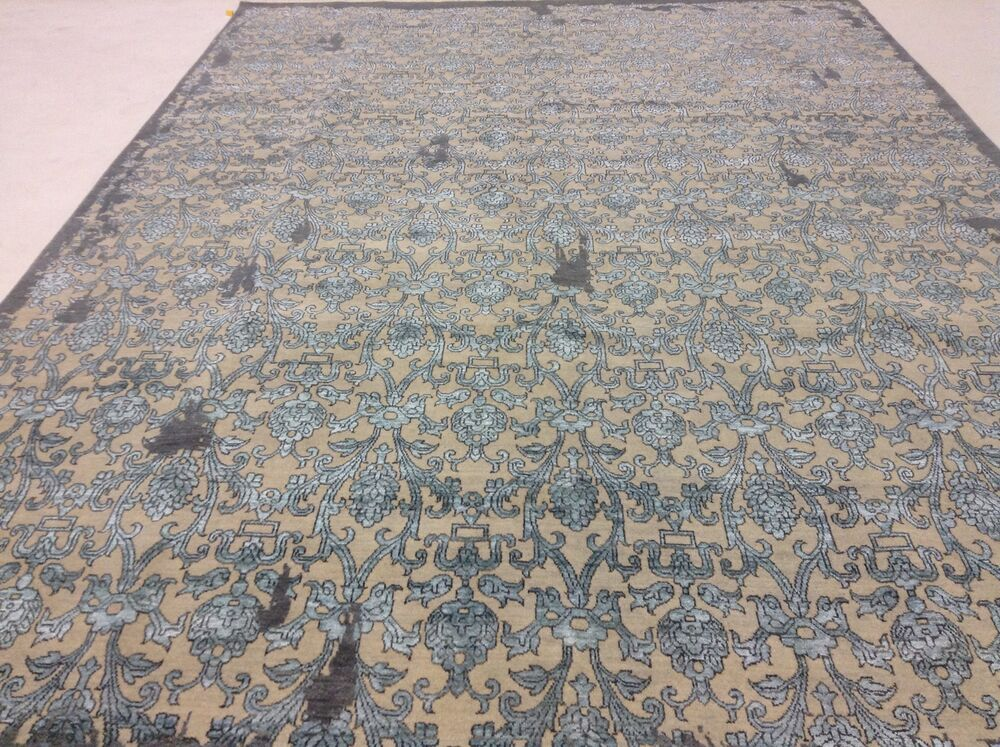 9 x 12 beige light blue modern persian oriental rug high for Blue and white oriental rug