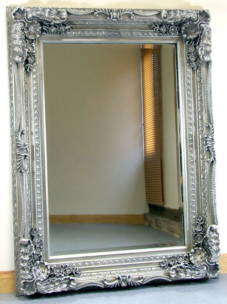 Louis ornate shabby chic vintage large french wall mirror for Large silver wall mirror