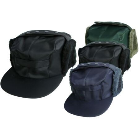 img-Mens Showerproof Peaked Hat With Ear Flaps Russian Trapper Hat Sporting Cap
