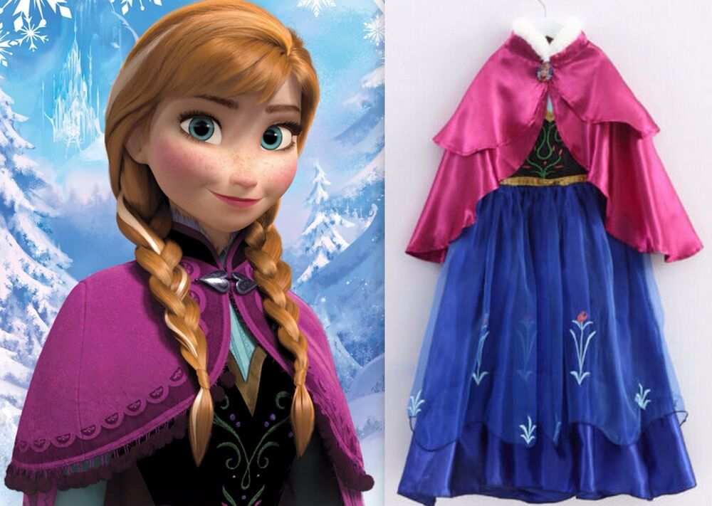 New frozen anna princess party dress up gown girls costume size 5 6 m elsa ebay - Princesse anna et elsa ...