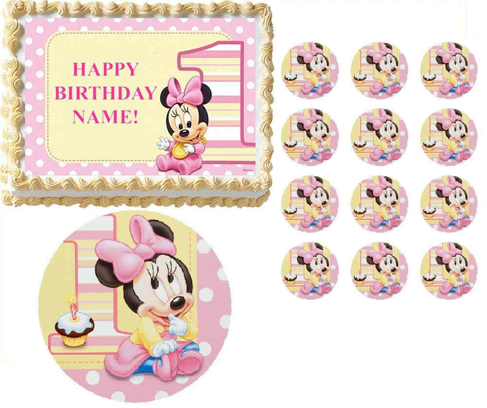 BABY MINNIE MOUSE First Birthday Edible Cake Topper ...