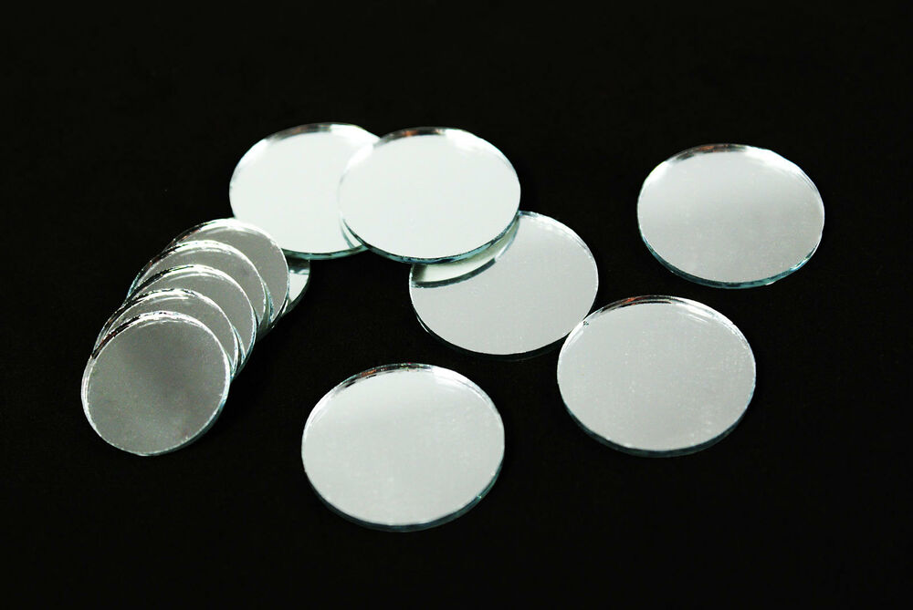 Round circle silver craft glass mirror mosaic tiles deco for Small round craft mirrors