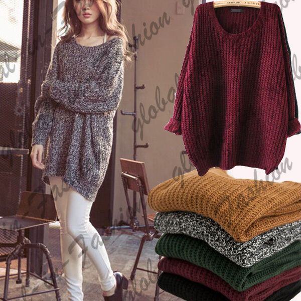 Knitting Pattern For Oversized Cardigan : Women Oversized Knitted Sweater Batwing Sleeve Tops ...