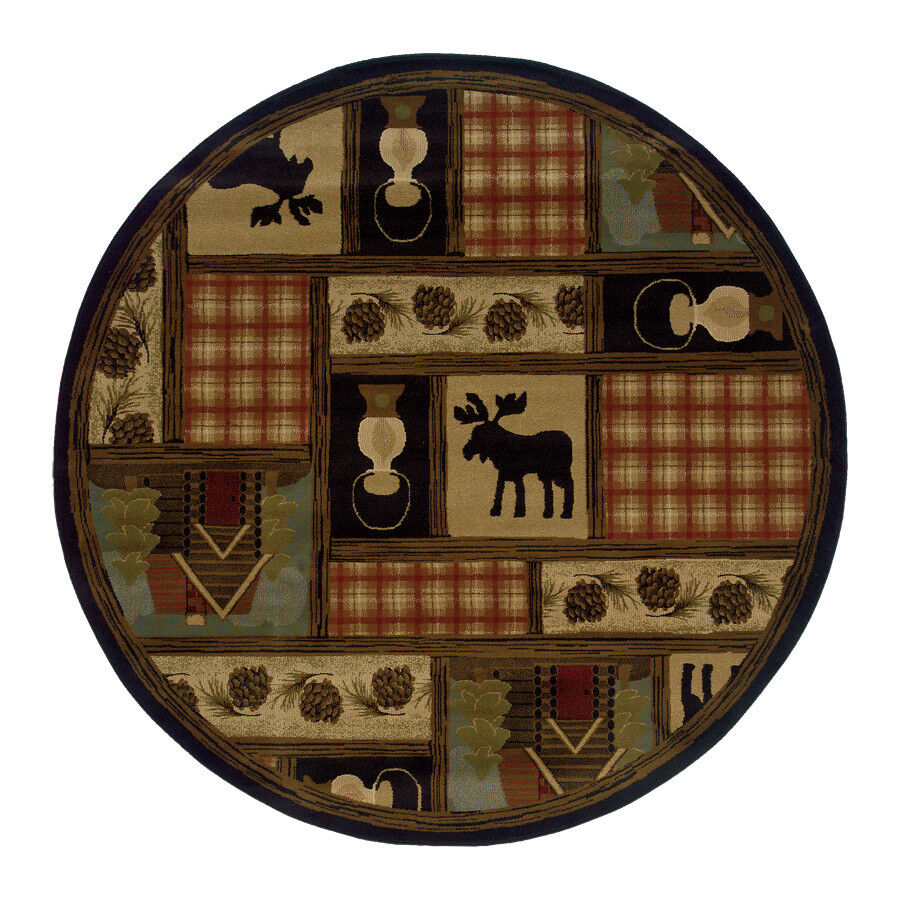 8' Round Lodge Cabin Rustic Moose Pine Brown Black