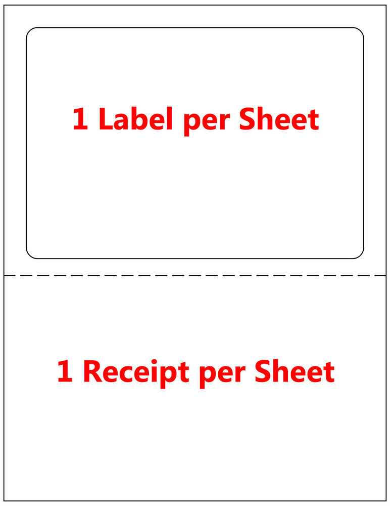 1000 half sheet shipping label paper tear off receipt usps for Half page sticker labels