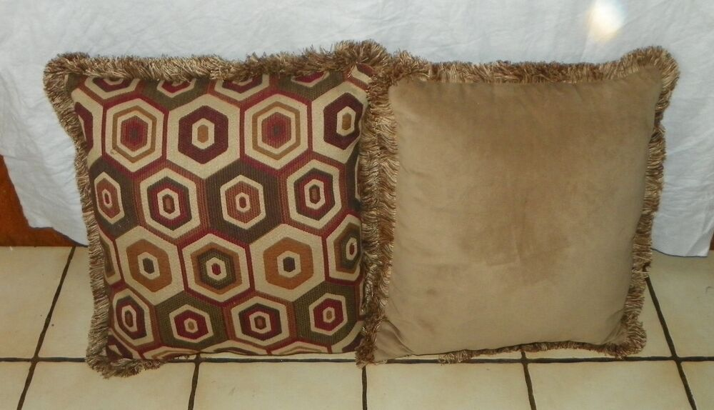 Pair Of Brown Burgundy Gold Abstract Print Pillows 20 X 20