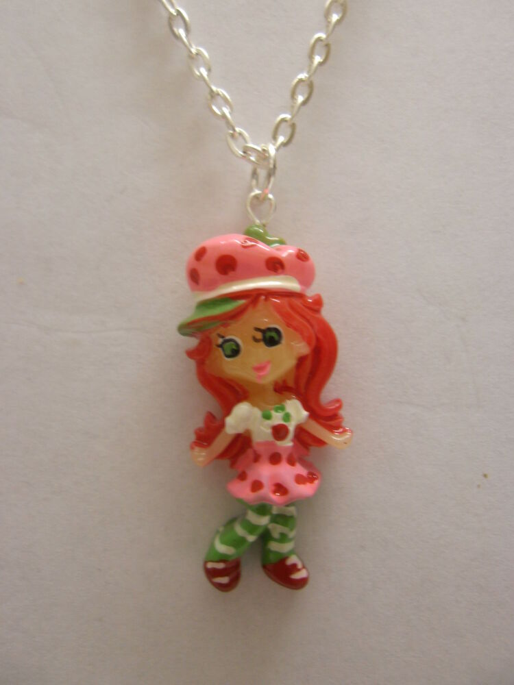 Strawberry shortcake girl pendant with 18 silver plated for Strawberry shortcake necklace jewelry